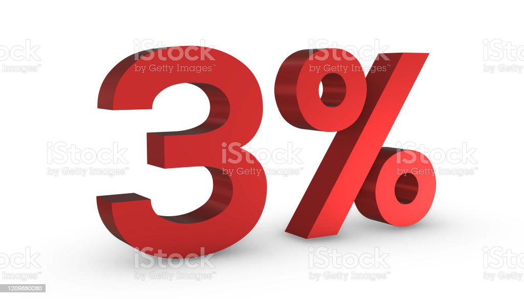 Number Three Percent 3 Red Sign 3d Rendering Isolated On