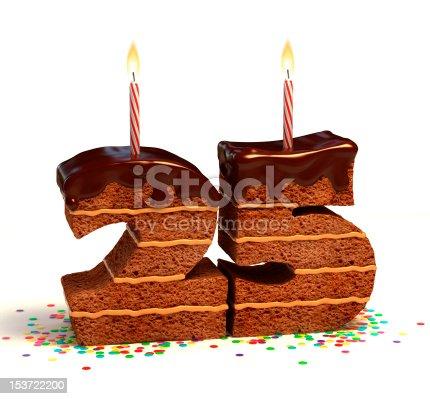 istock number twenty five shaped chocolate cake 153722200
