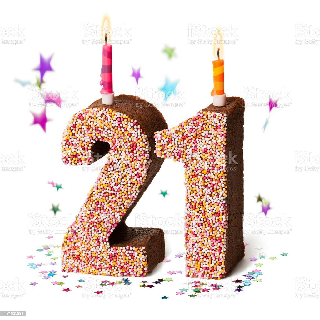 Number twenty one chocolate birthday cake with candles stock photo