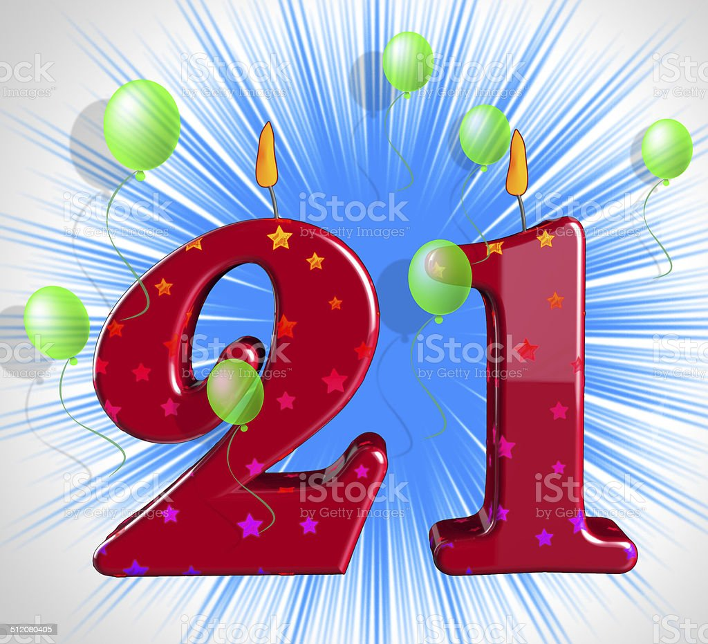 Number Twenty One Party Mean Adult Celebration Or Party stock photo