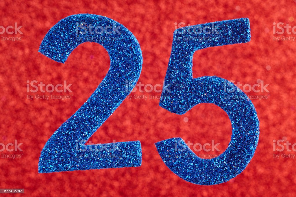 Number twenty-five blue color over a red background. Anniversary. Horizontal stock photo