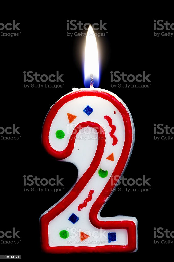 Number Two Birthday Candle Royalty Free Stock Photo