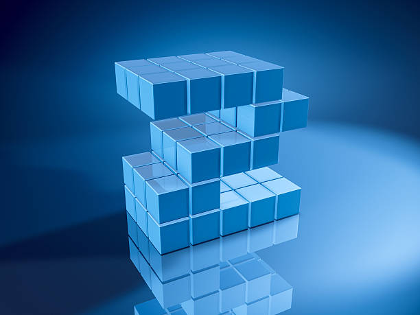 Number Two Blue Cubes 3D Render of a Number Two built with pixelated blue cubes. Very high resolution available! Use it for Your own composings!Related images: blue 3d business NOT map NOT background stock pictures, royalty-free photos & images