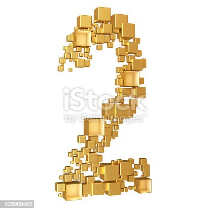 673234458istockphoto Number Two Made of Golden Cubes Isolated 528909563