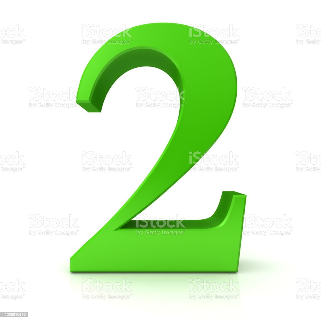 2 number two second 3d sign symbol icon digit green isolated on white  background royalty-