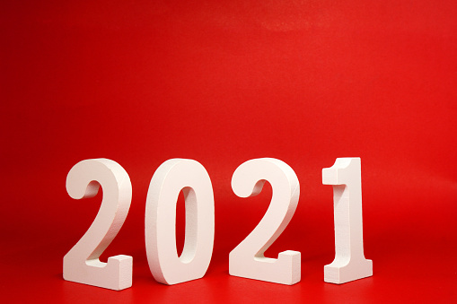 2021 number wooden object on red background and copy space - Happy new year 2021 , Chinese new year - red concept