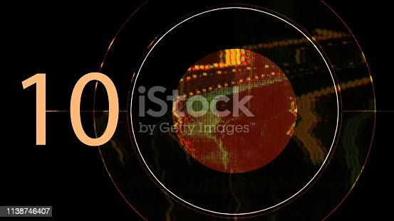 istock Number written as digit and in english text. Illustration of typography on black background. 1138746407