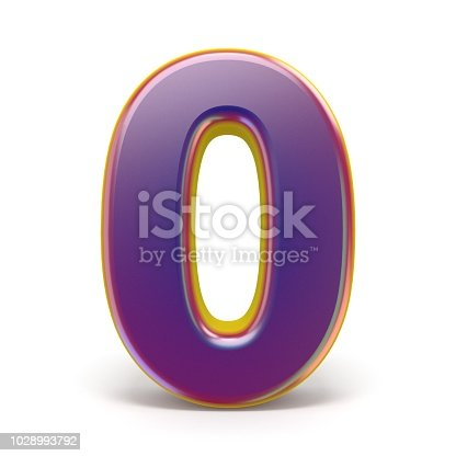 845307368 istock photo Number ZERO 0 purple font yellow outlined 3D 1028993792
