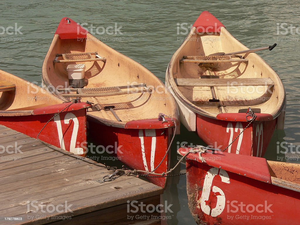 Numbered Canoes royalty-free stock photo