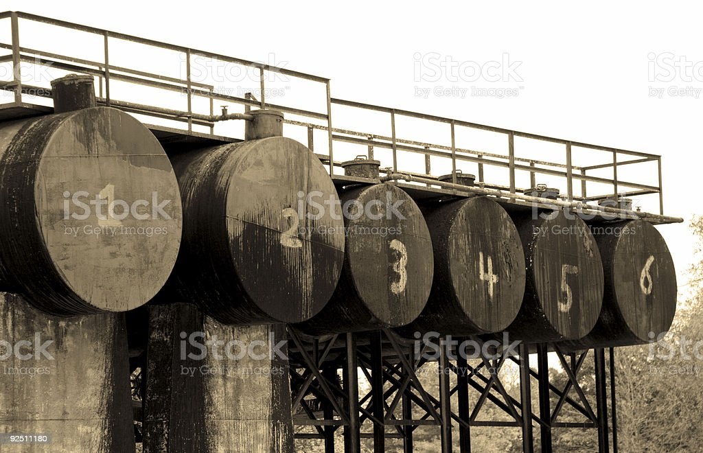 numbered oil barrels royalty-free stock photo