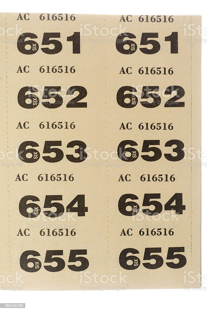 10 numbered raffle tickets royalty free stock photo
