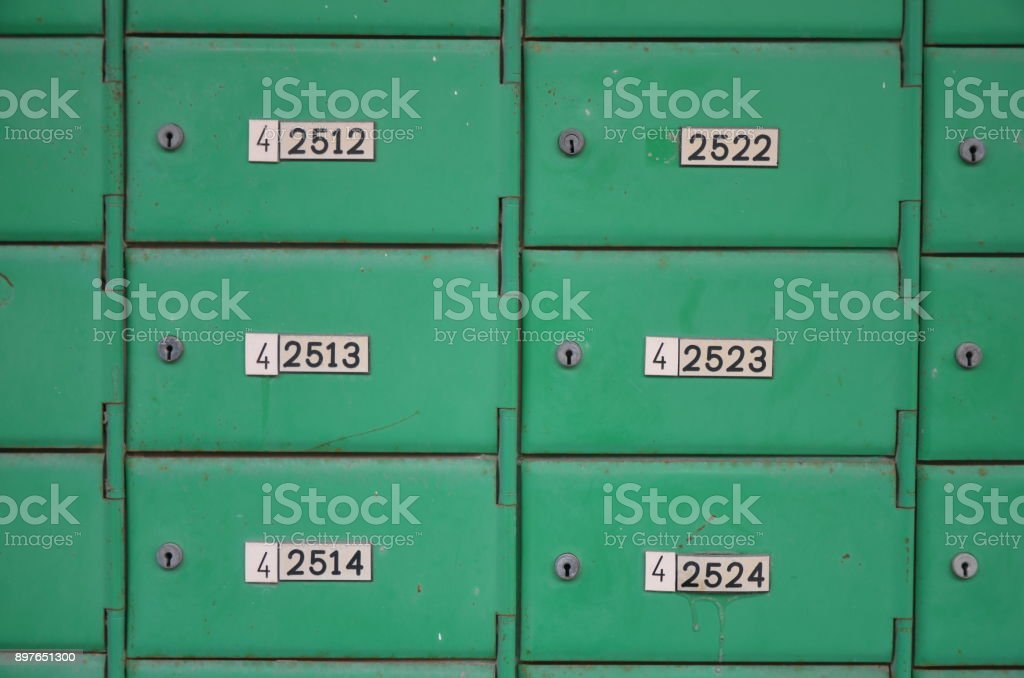 Numbered safe boxes stock photo