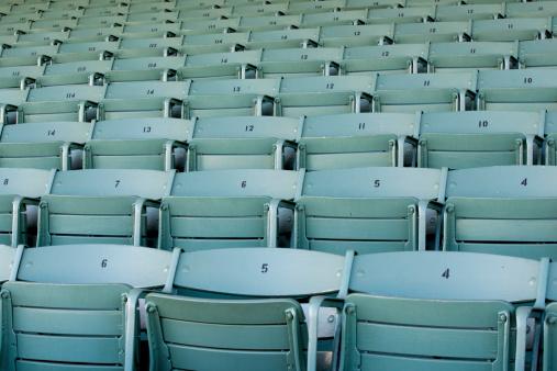 171581046 istock photo Numbered stadium seats 468431031