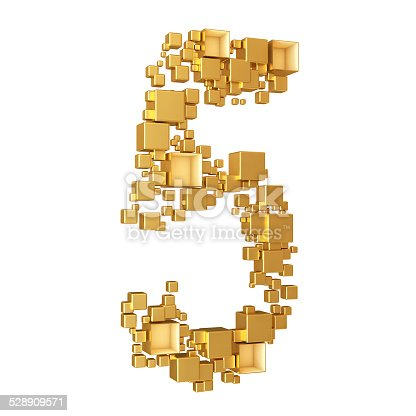 673234458istockphoto NumberFive Made of Golden Cubes Isolated 528909571