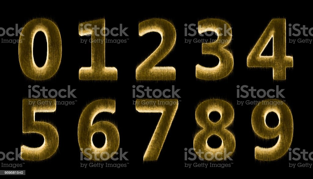 Numbers 0 - 9 stock photo