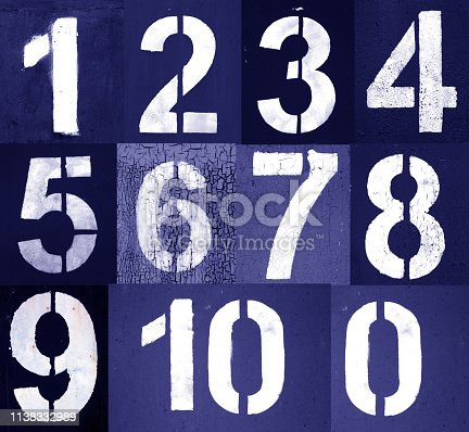 istock Numbers 0 to 10 in stencil on metal wall in blue 1138332989