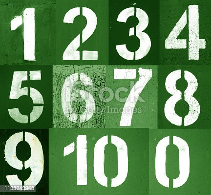 istock Numbers 0 to 10 in stencil on metal wall in green tone. 1138243968