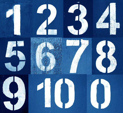 istock Numbers 0 to 10 in stencil on metal wall in navy blue tone. 1139419810