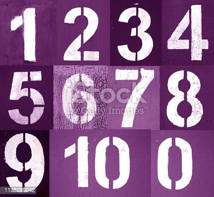 istock Numbers 0 to 10 in stencil on metal wall in purple tone. 1138239242