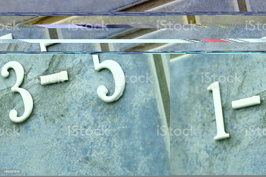 Numbers 1 3 5 on blue tile royalty-free stock photo