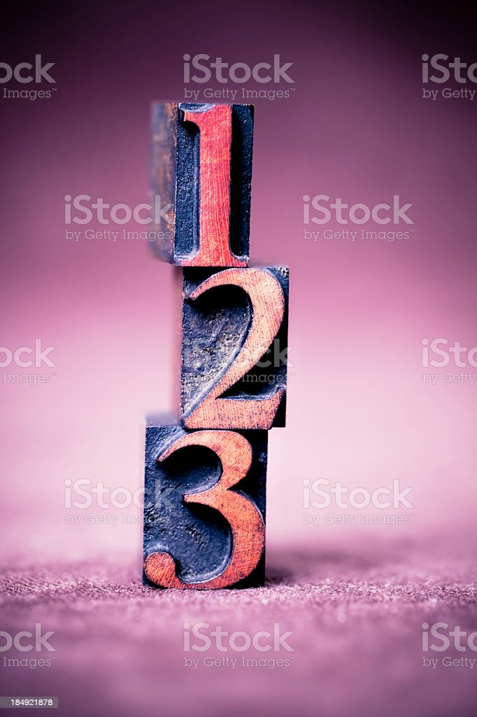 Numbers: 1, 2, 3 stock photo