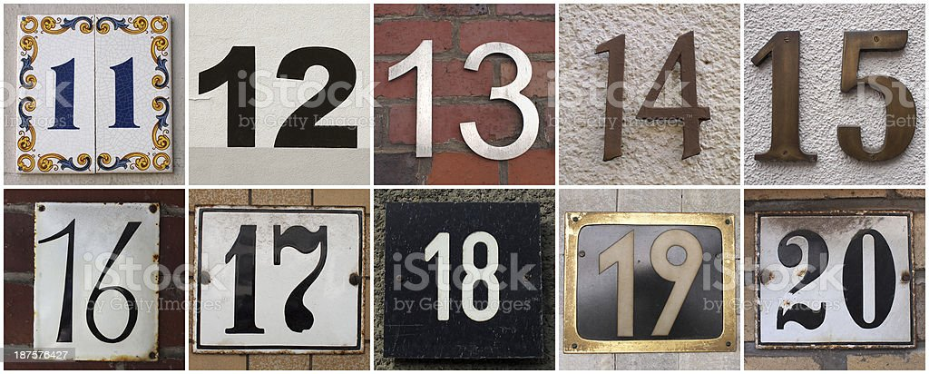 numbers 11 to 20 stock photo