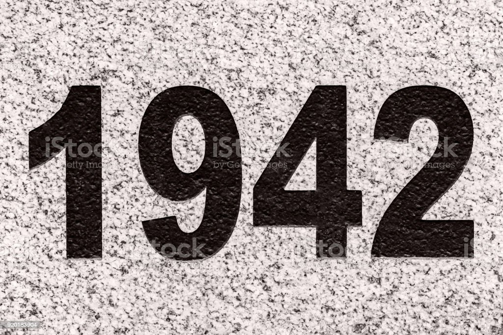 Numbers 1942 On A Marble Slab Stock Photo - Download Image Now - iStock