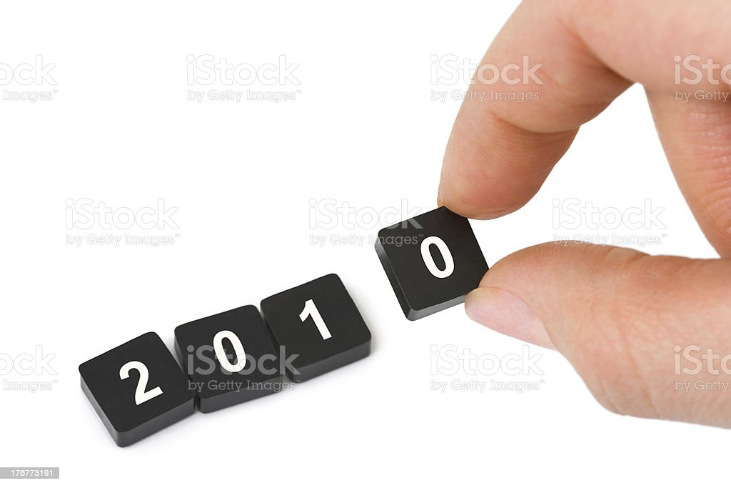 Numbers 2010 and hand royalty-free stock photo