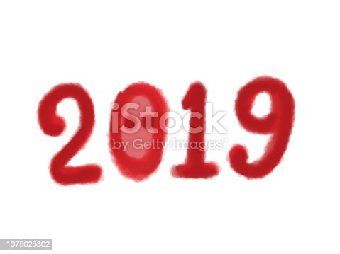 istock numbers 2019 for the design of the New Year card 1075025302
