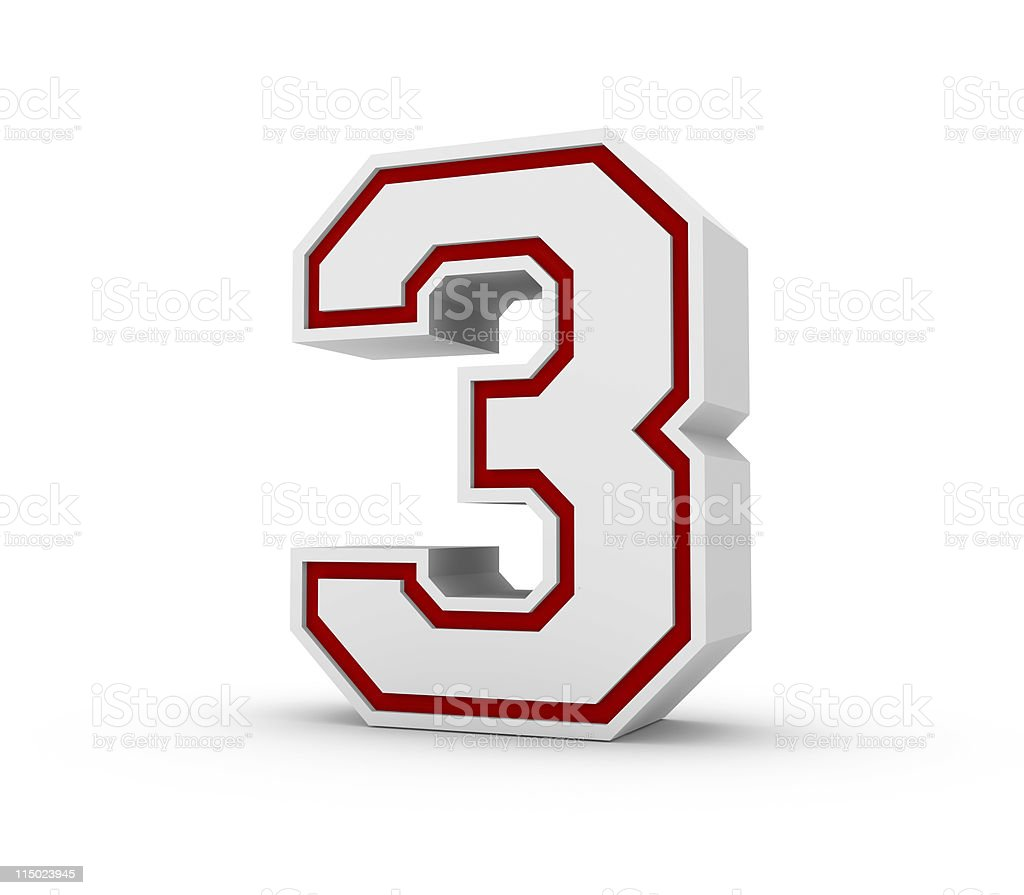 Numbers 3 in School Style royalty-free stock photo