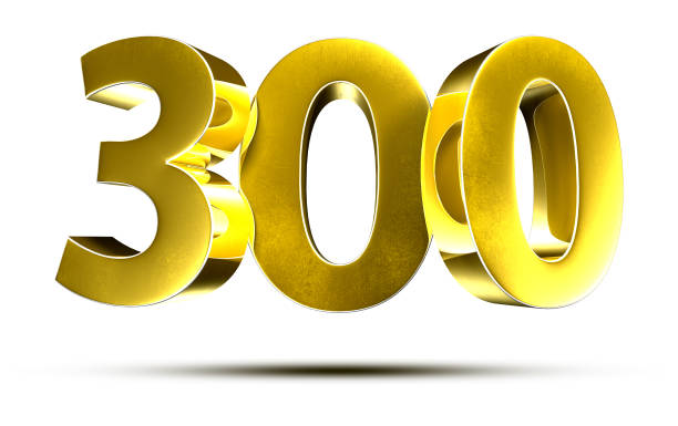 Numbers 300 3d. stock photo