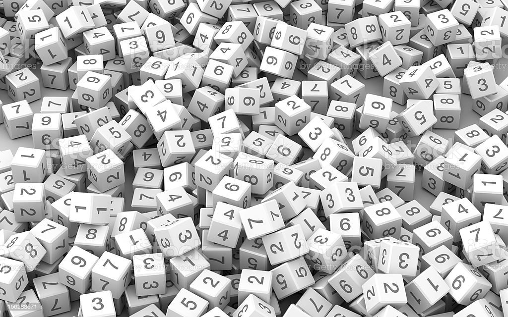 Numbers and cubes royalty-free stock photo