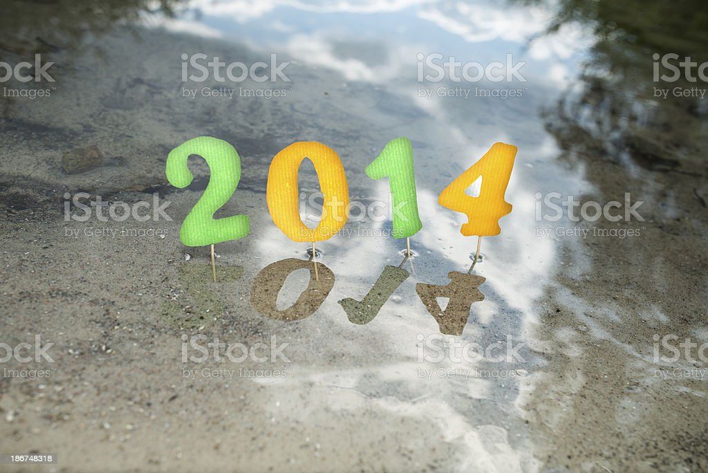 2014 numbers at beach royalty-free stock photo