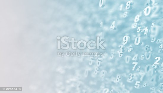 numbers background - on a light bg - 3d rendering