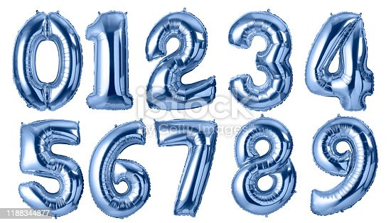 Shine foil numbers balloons isolated on white background.with clipping path