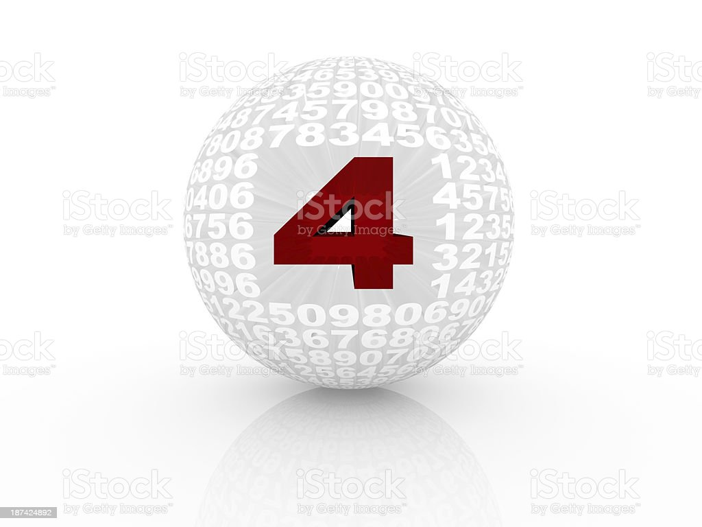 3D numbers forming a sphere isolated on white background. royalty-free stock photo
