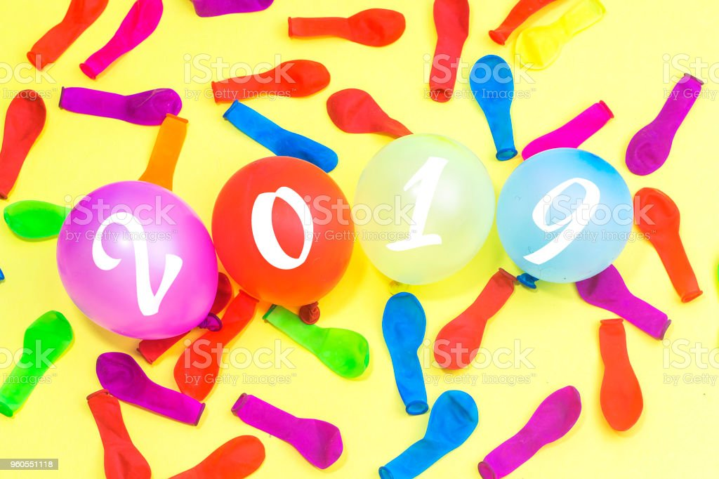 numbers forming the number 2019 with colorful ballons , For the new year 2019 stock photo