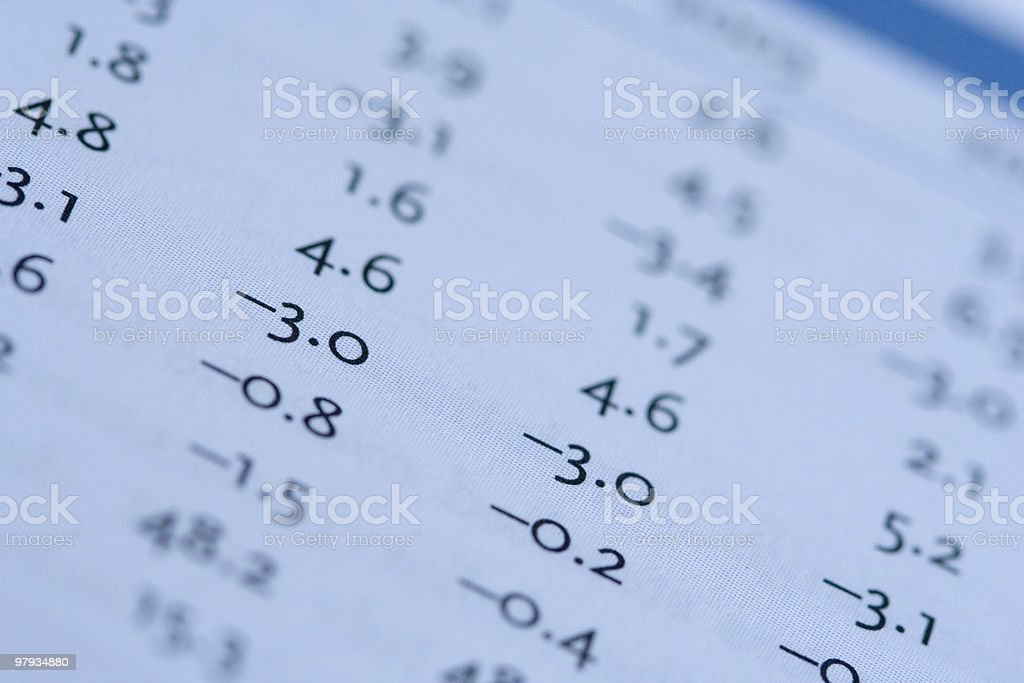 Numbers from a report royalty-free stock photo