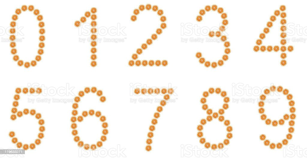 Numbers from orange slices isolated on white background royalty-free stock photo