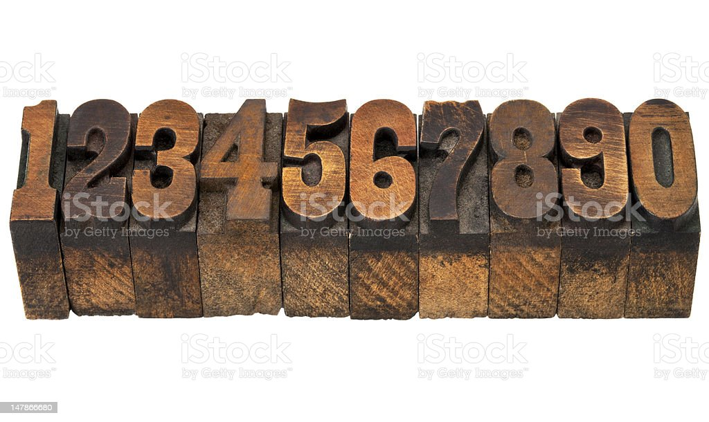 numbers in antique letterpress type royalty-free stock photo