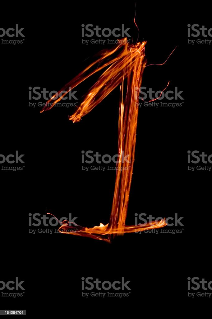 Numbers in flames 1 royalty-free stock photo