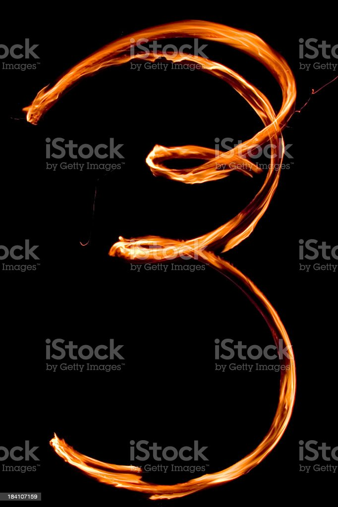 Numbers in flames 3 royalty-free stock photo