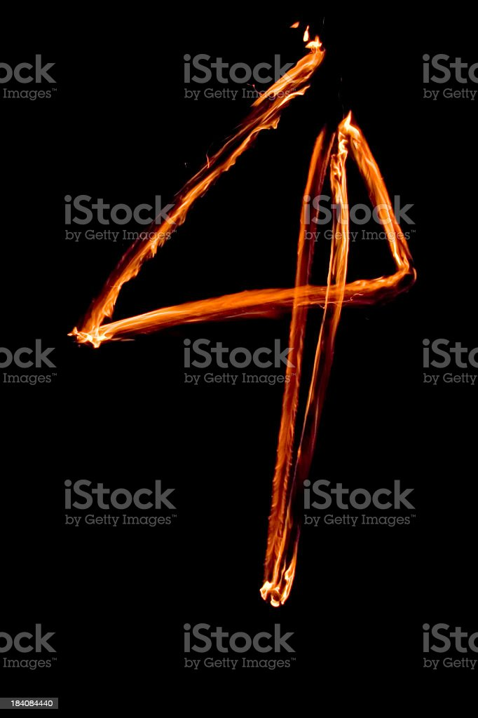Numbers in flames 4 stock photo