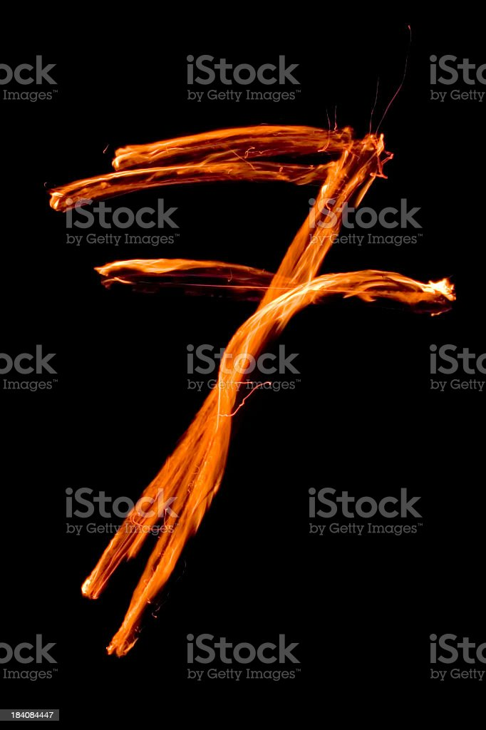 Numbers in flames 7 stock photo