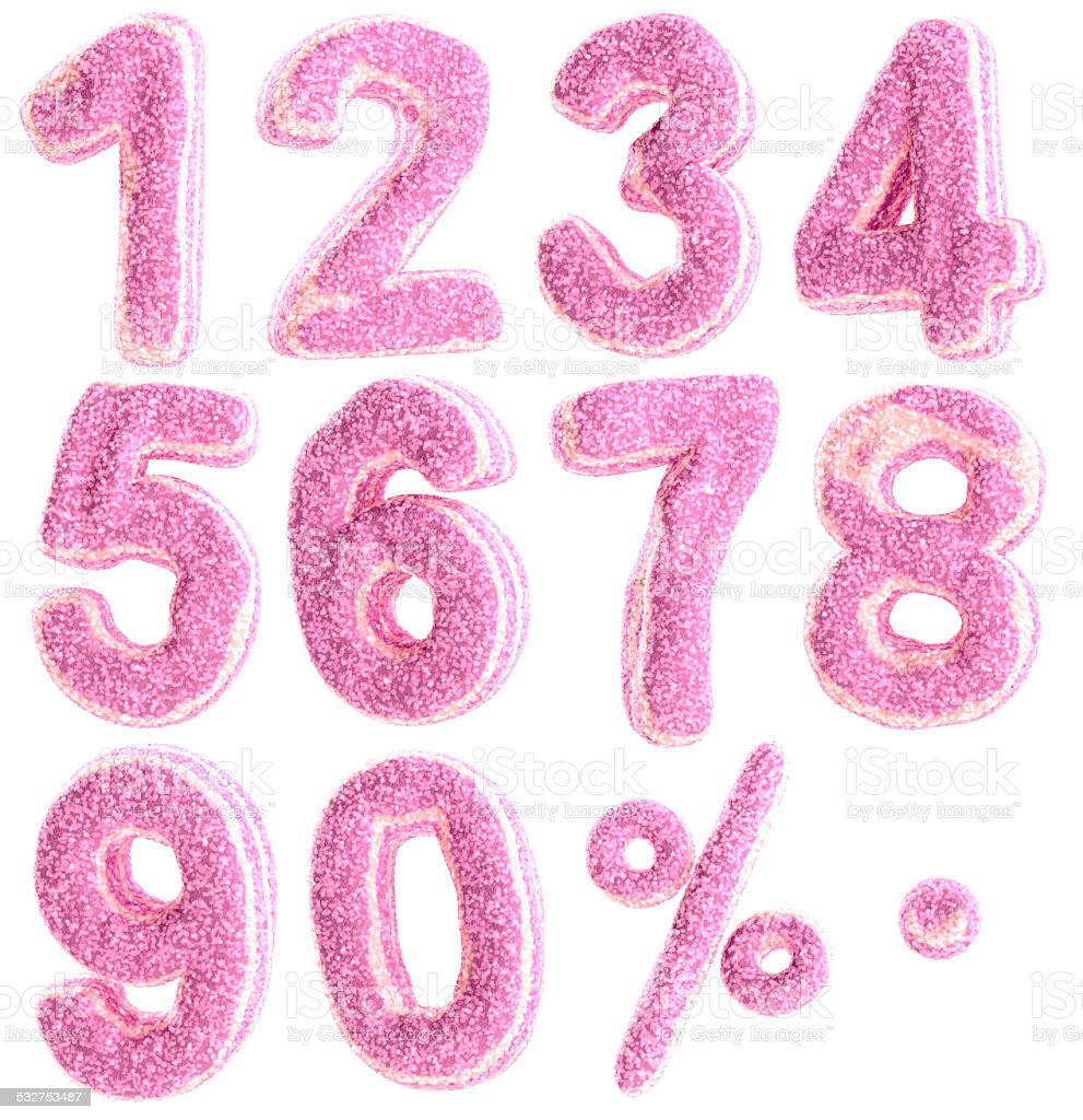 Numbers in pastille candy style stock photo