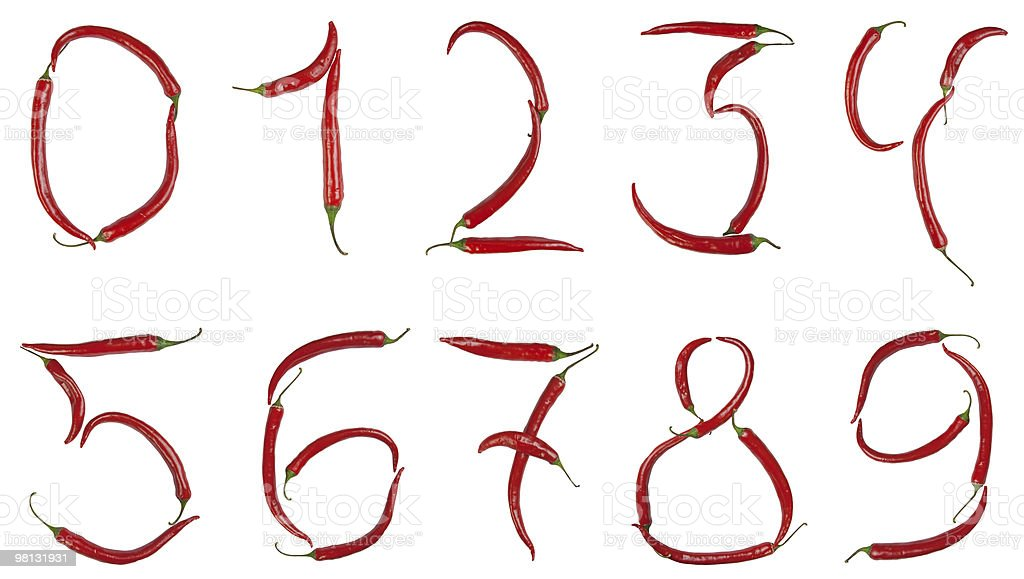 Numeri in Peperoncino foto stock royalty-free