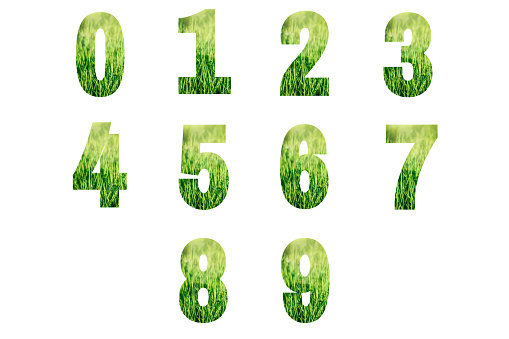 istock Numbers made from green grass isolated on white. 1199011538