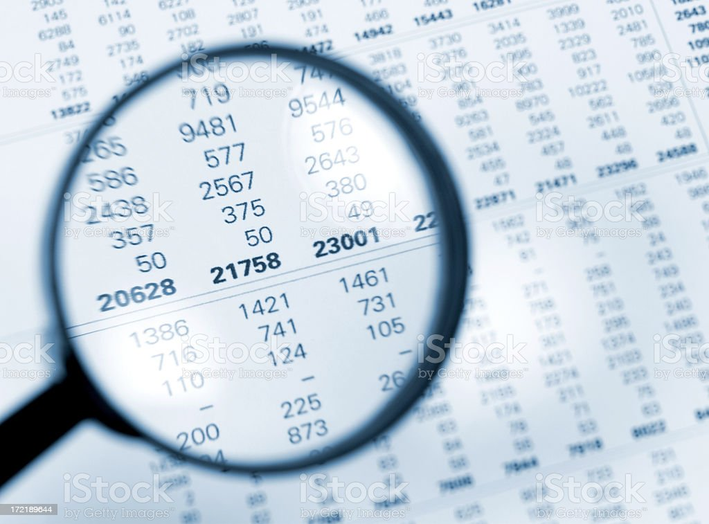 Numbers magnified stock photo