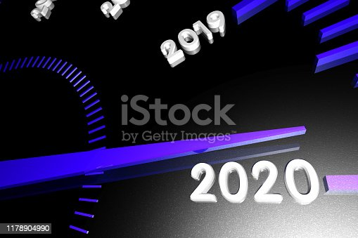 1033275118 istock photo Numbers of the upcoming new year 2020 on the speedometer surface, with an arrow approaching them. 3d render. 1178904990