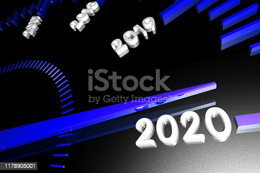 1033275118 istock photo Numbers of the upcoming new year 2020 on the speedometer surface, with an arrow approaching them. 3d render. 1178905001